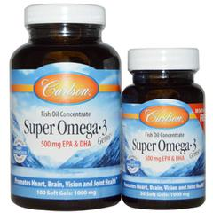 Carlson Labs, Super Omega·3 Gems, Fish Oil Concentrate, 1000 mg